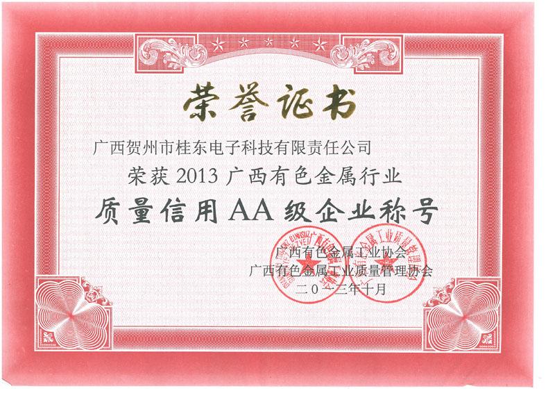 2013yabo娱乐vip有色金属行业质量信用AA级企业称号