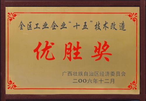 2006年 全区工业企业十五技术改造优胜奖