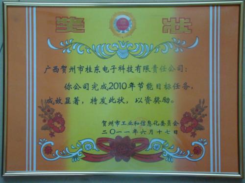 2010年 2010年度节能目标任务成效显著奖