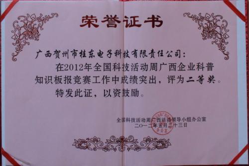 2012年 2012年全国科技周yabo娱乐vip企业科普知识版报竞赛二等奖